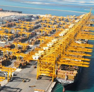 Jebel Ali Port, located 35 km south of Dubai