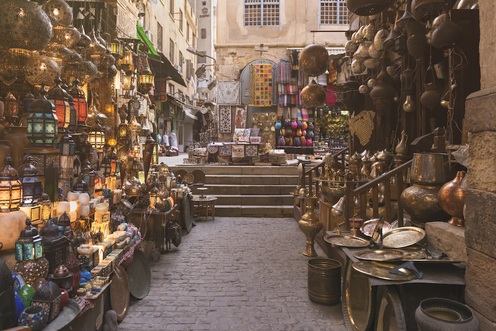 Khan el-Khalili is a major market in the Islamic district of Cairo. The bazaar district is one of Cairo's main attractions for tourists and Egyptians